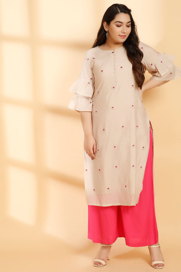 Golden Cream Boota Embroidery Frill Sleeve Kurti