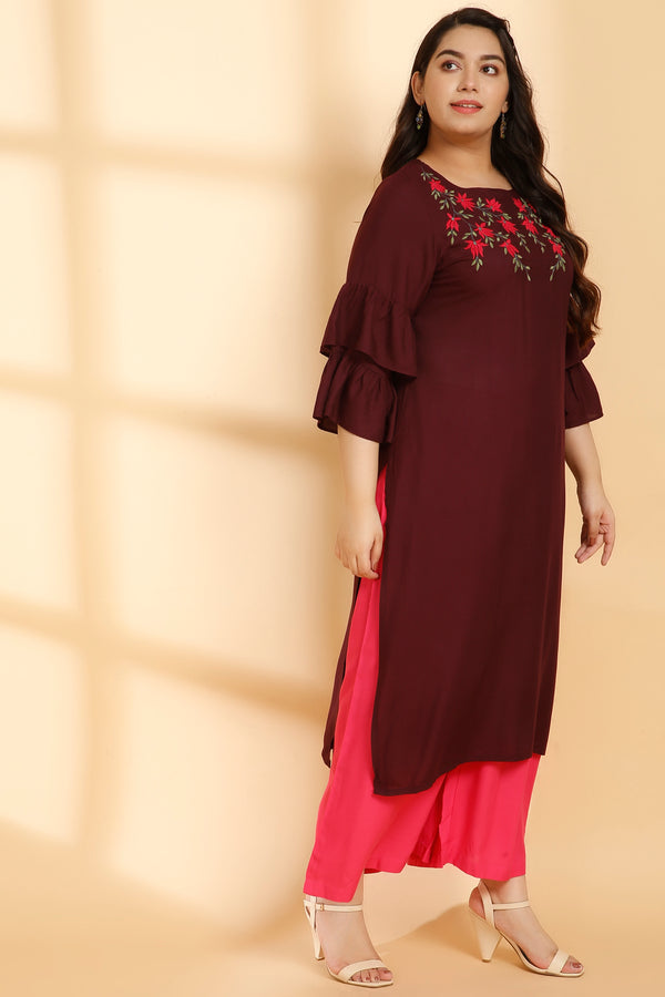 Plum Floral Embroidery Frill Sleeve Kurti