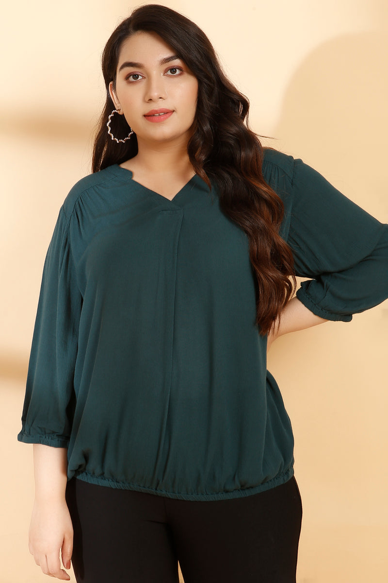 Emerald Green Center Pleat Formal Blouse