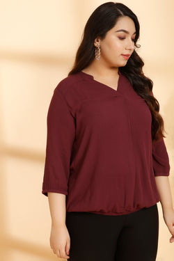 Plum Center Pleat Formal Blouse