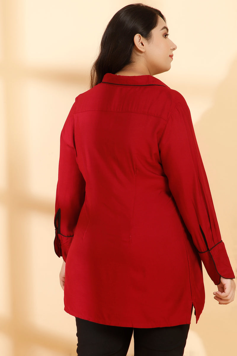 Chilly Red Cuban Collar Cuff Detail Blouse