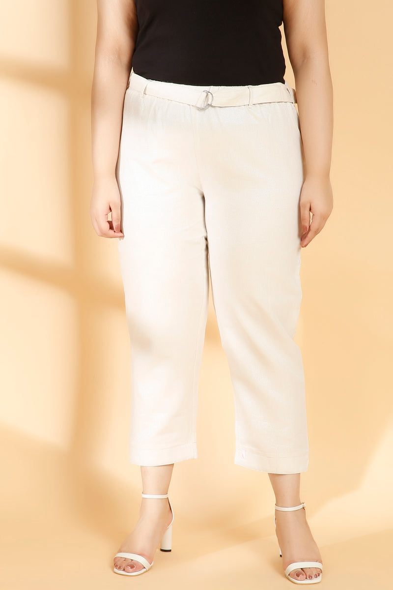 White Golden Shimmer Pants
