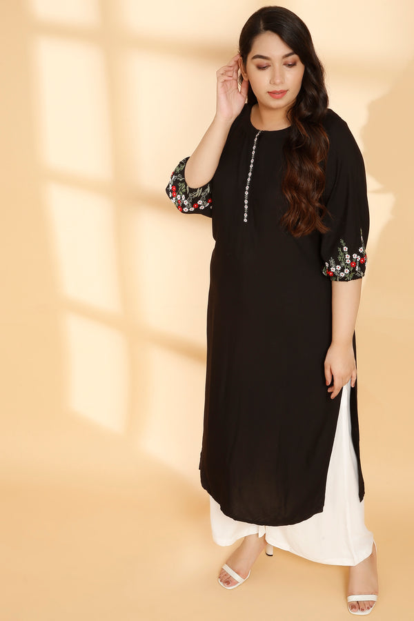 Black Embroidered Sleeve Kurti