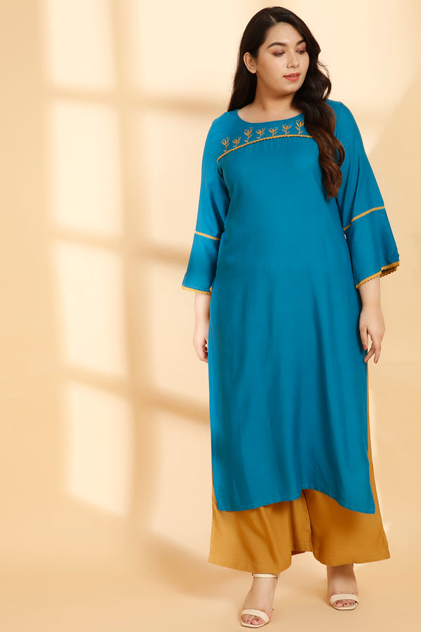 Dark Turquoise Yoke Embroidery Bell Sleeve Kurti