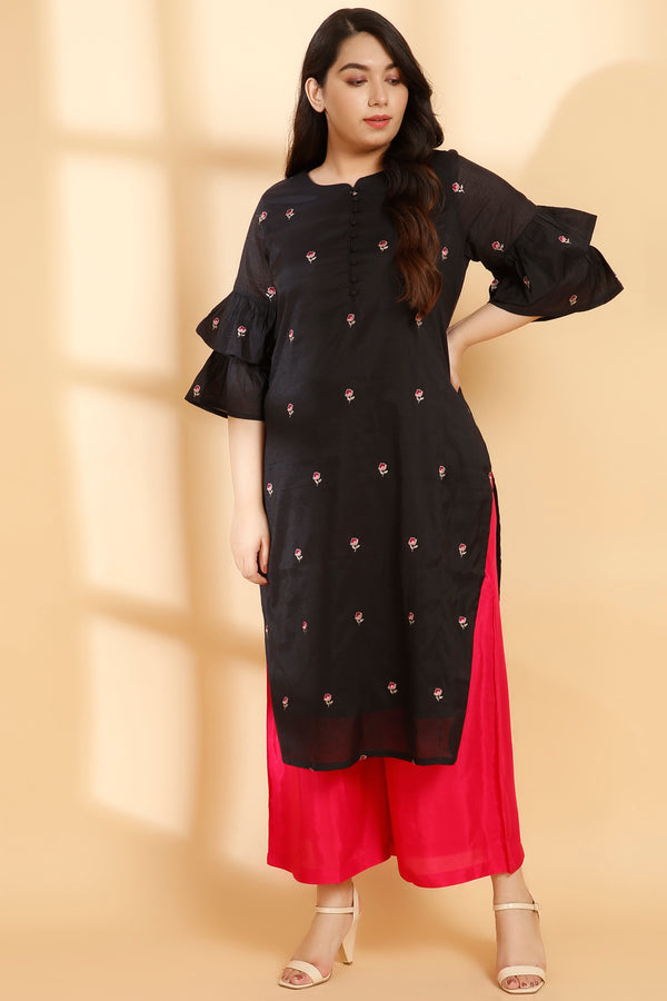 Black Chanderi Boota Embroidery Frill Sleeve Kurti