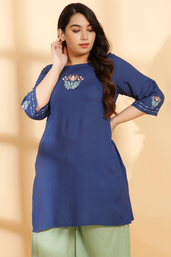 Teal Embroidery Detail Short Kurti