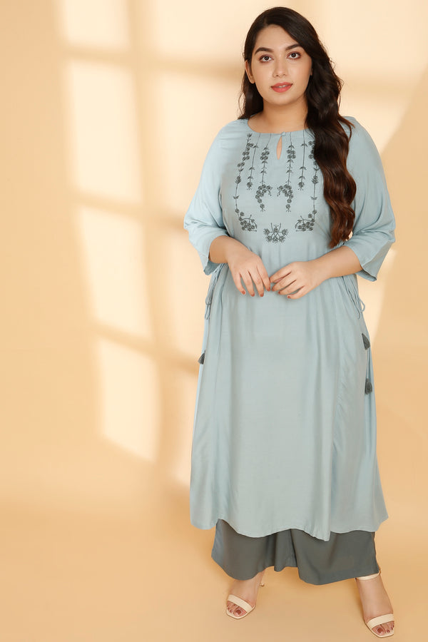 Mint Green Side Tie Kurti