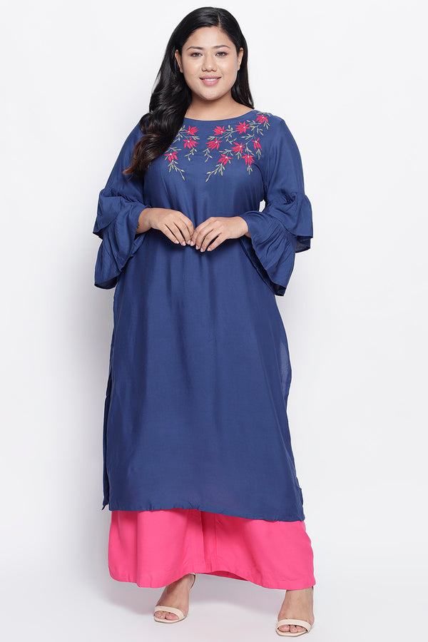 Teal Floral Embroidery Frill Sleeve Kurti