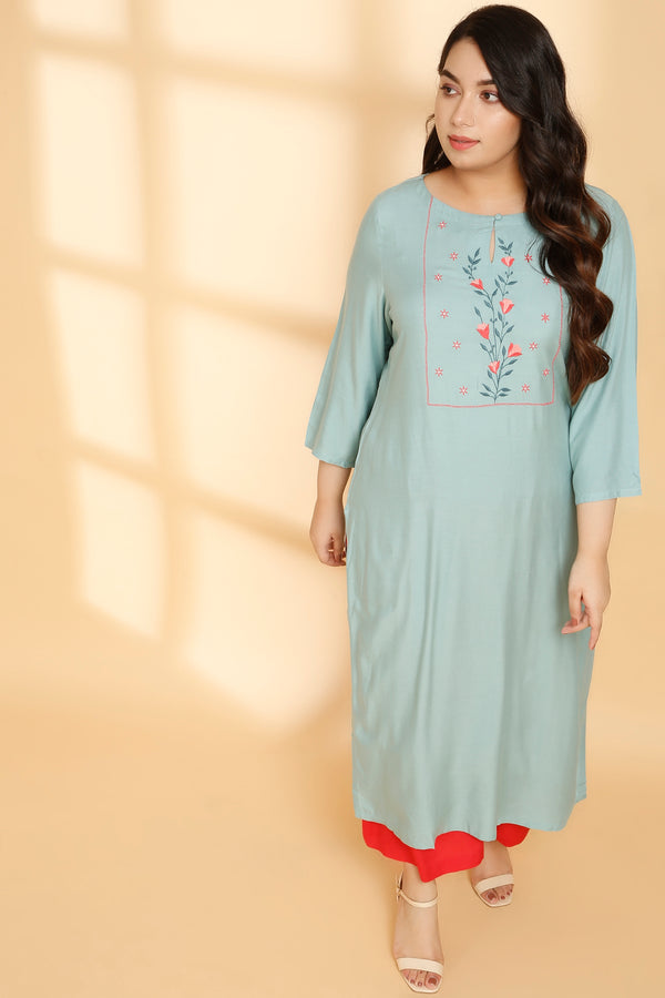 Tea Green Yoke Embroidery Kurti