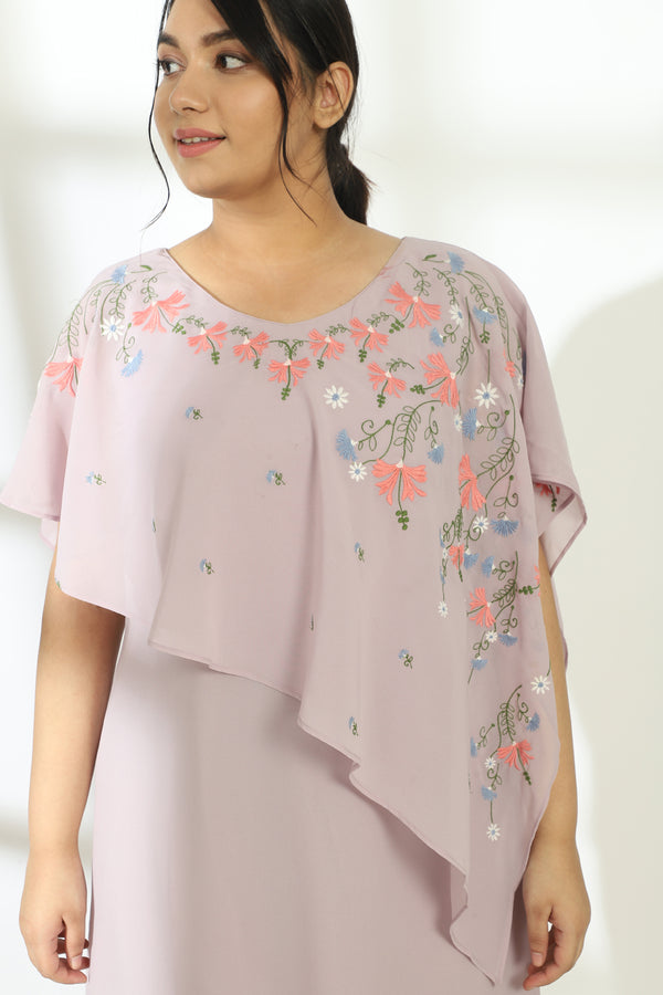 Lavender Neckline Embroidery Cape Gown