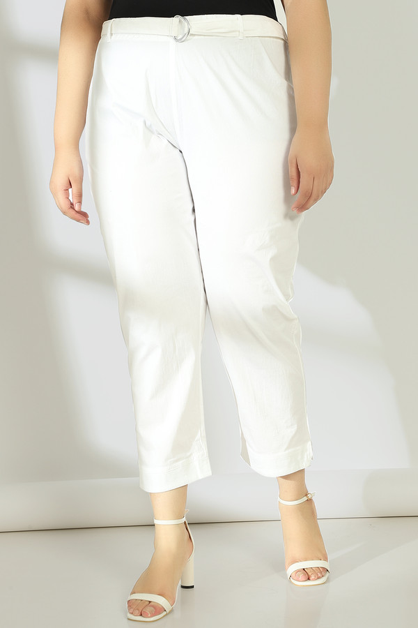 Ivory White Stretchable Relax Trousers