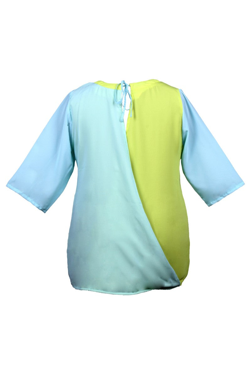 Back Tie-Up Aqua Lemon Top