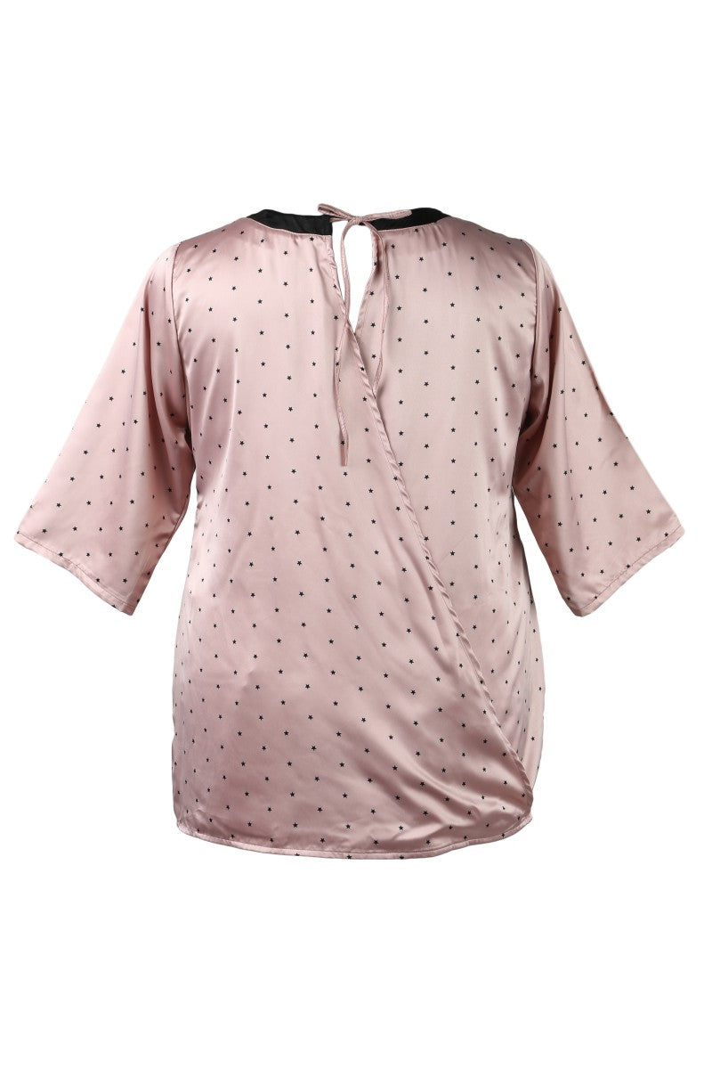 Back Tie-Up Pink Star Print Top