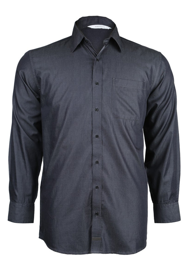 Black Cotton Chambray Shirt