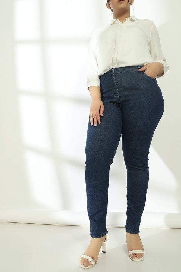 Plain Navy Wonder Fit Denims