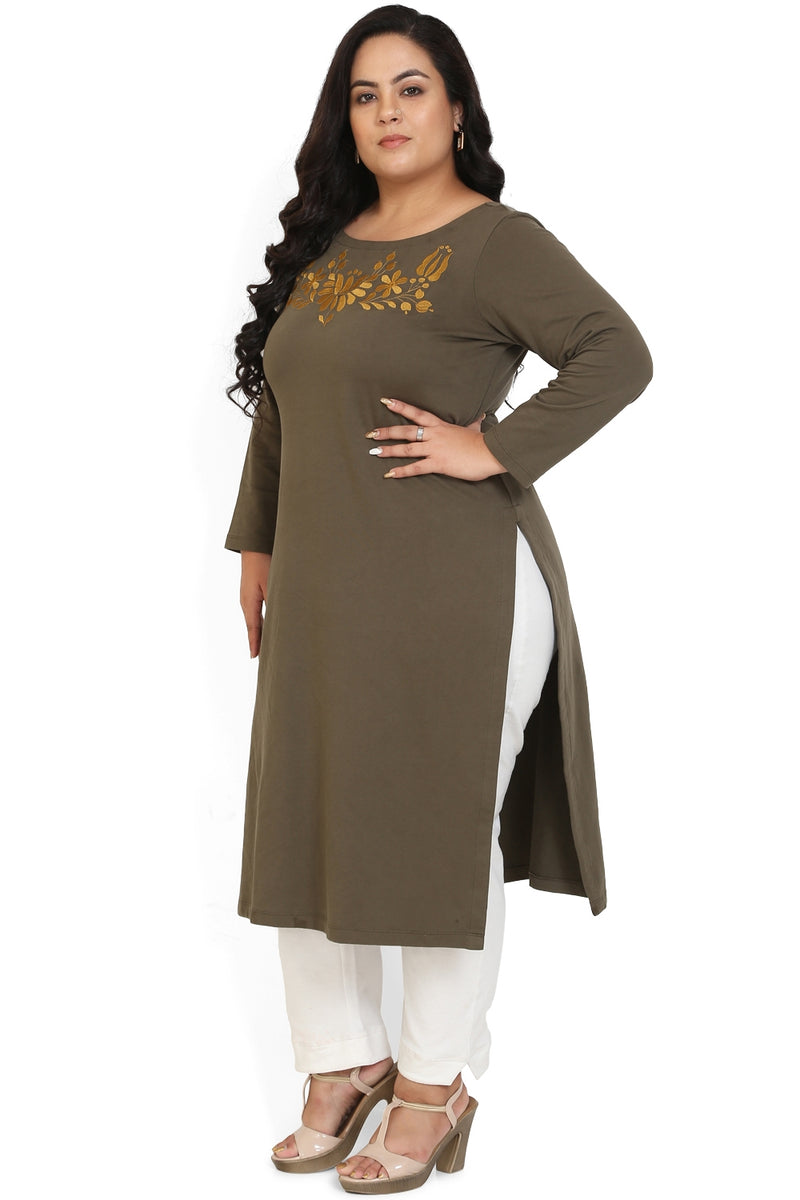 Olive Embroidery Detail Autumn Kurti