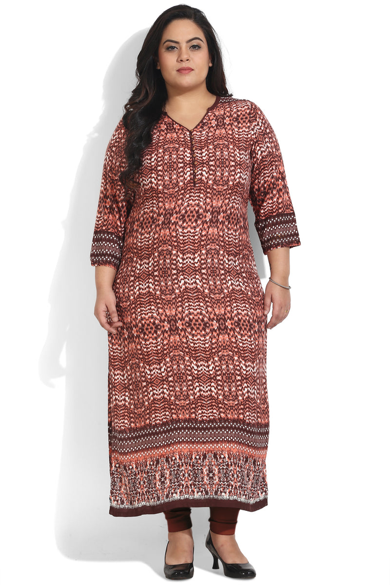 Brown Abstract Border Print Ankle Length Kurti