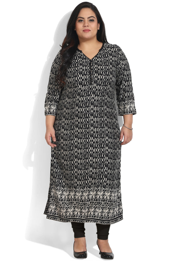 Black White Border Print Ankle Length Kurti