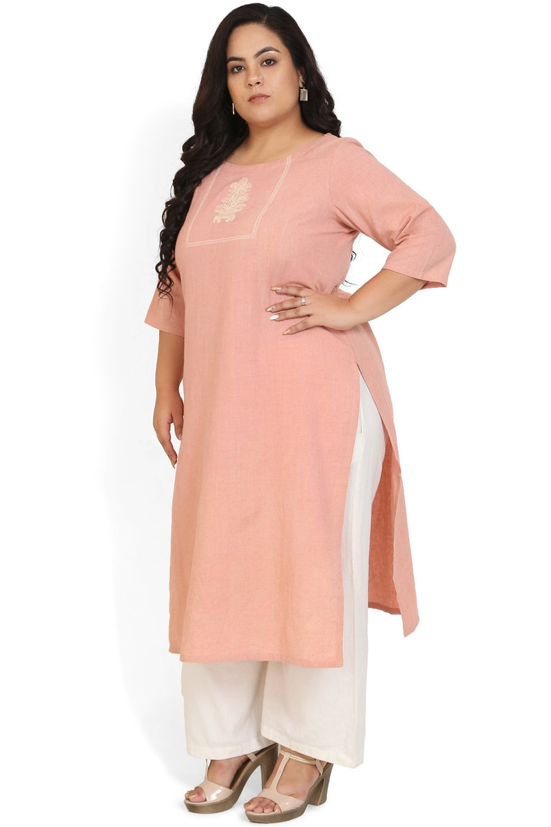 Rose Quartz Neckline Embroidered Kurti