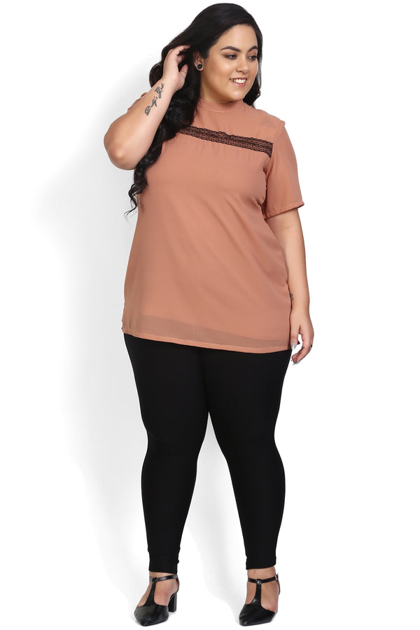Peach Mandarin Collar Lace Yoke Top