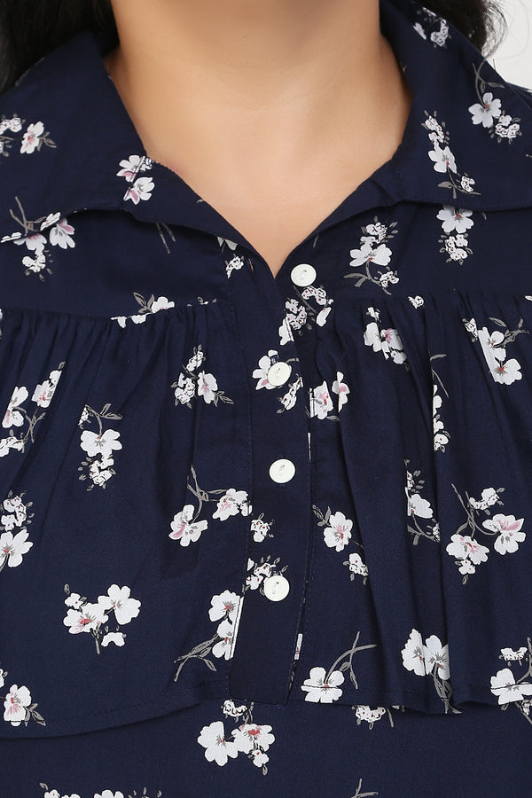 Navy Floral Print Frill Cold Shoulder Top