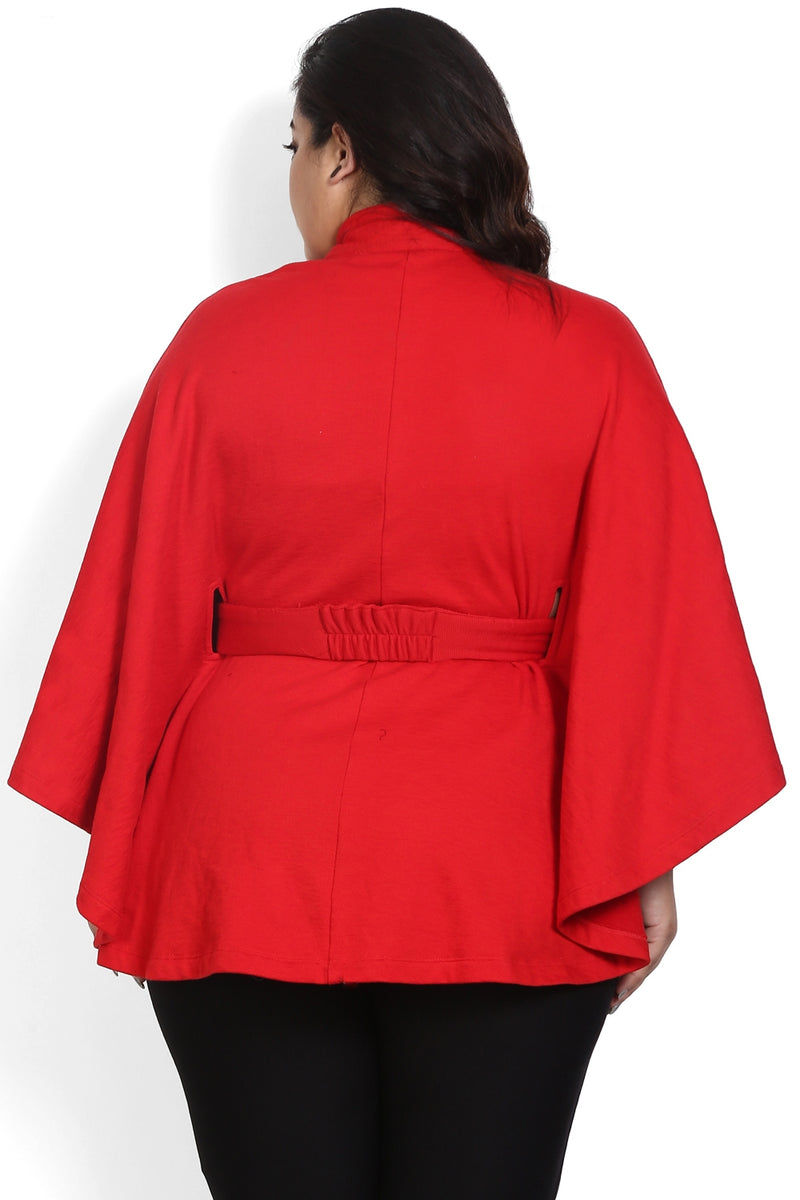 Red Belt Detail Poncho