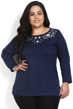 Navy Neckline Embroidery Autumn Top