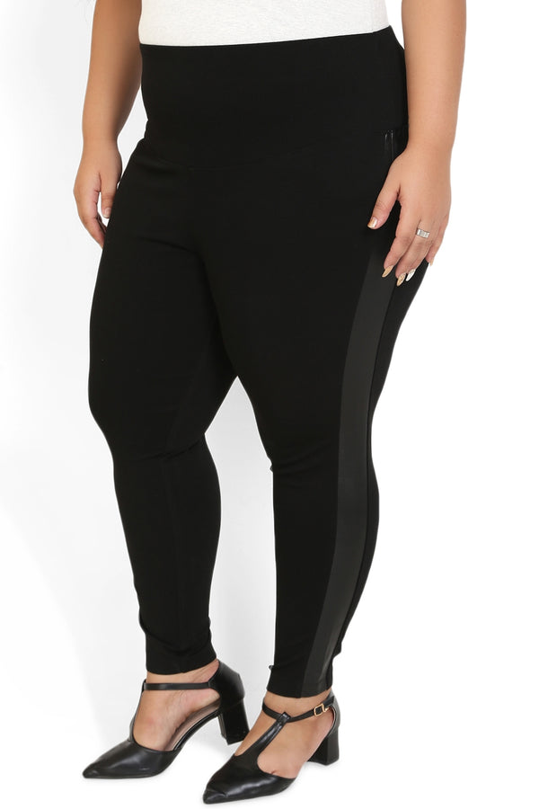 Black Leather Detail Tummy Shaper Jegging