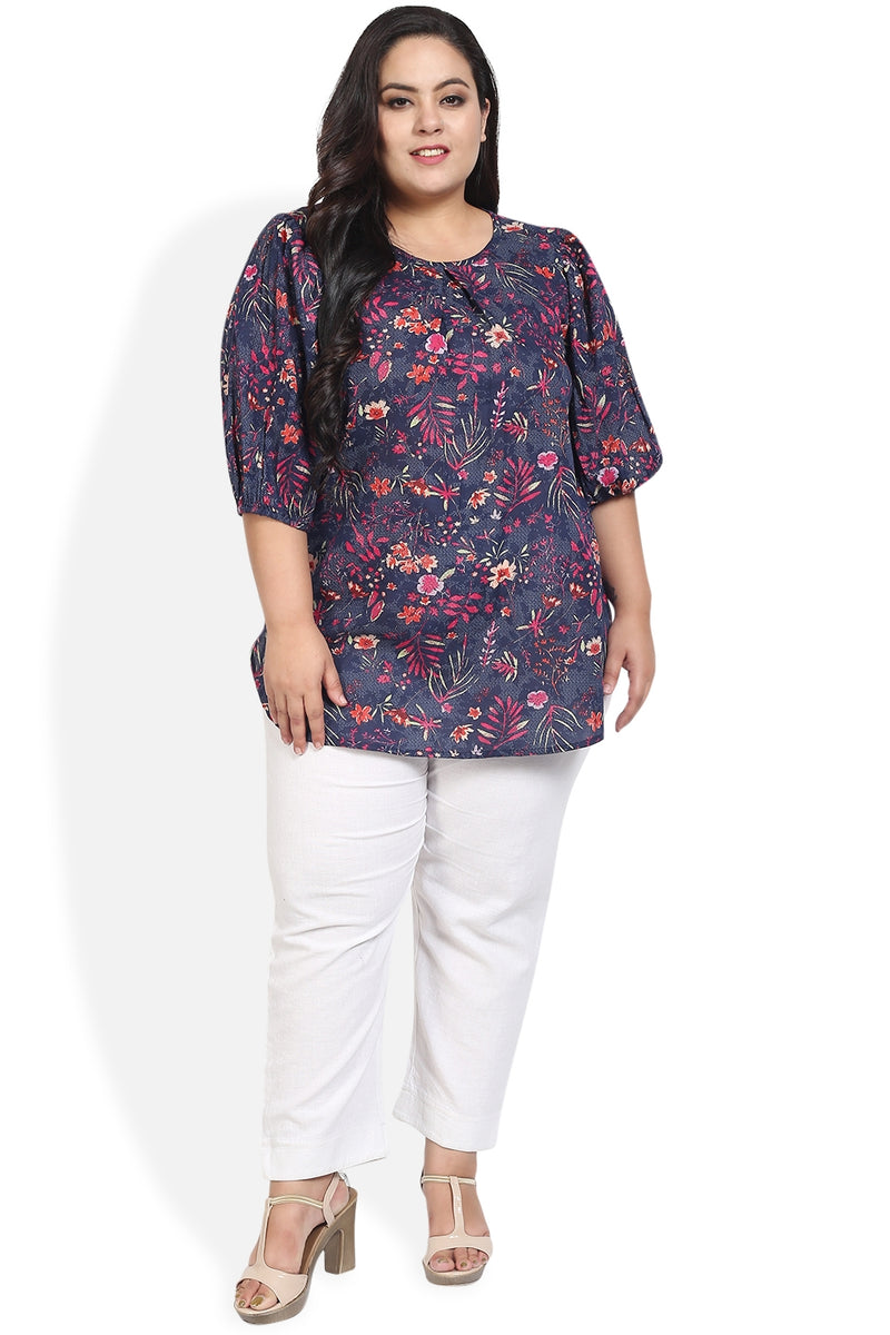 Navy Floral Printed Balloon Sleeve Top