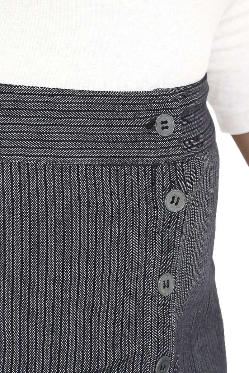 Grey Black Stripe A-Line Skirt