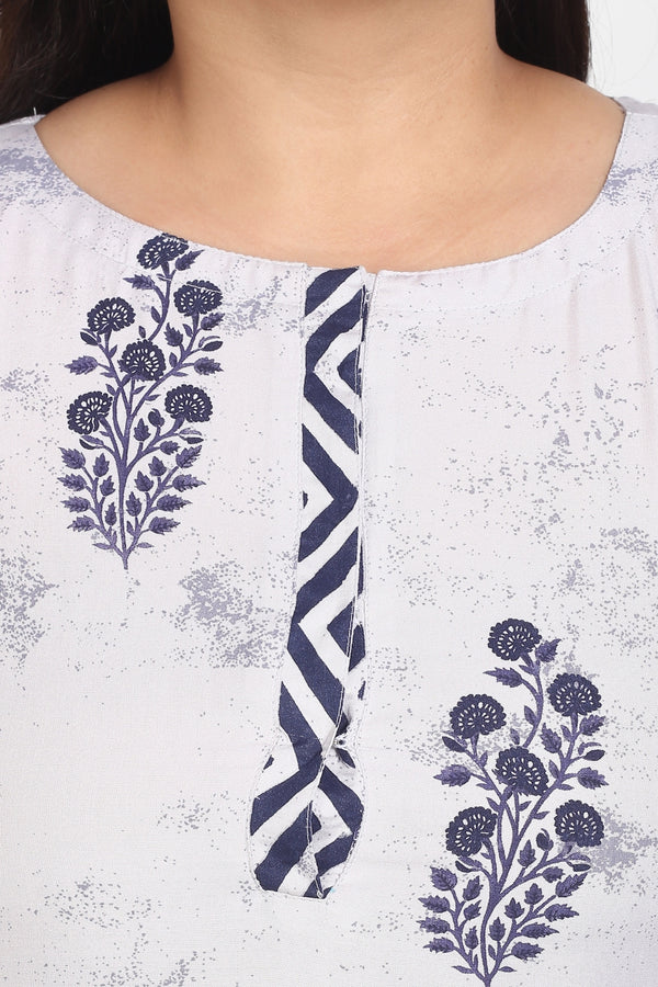 Grey Navy Motif Printed Placket Closure Kurti