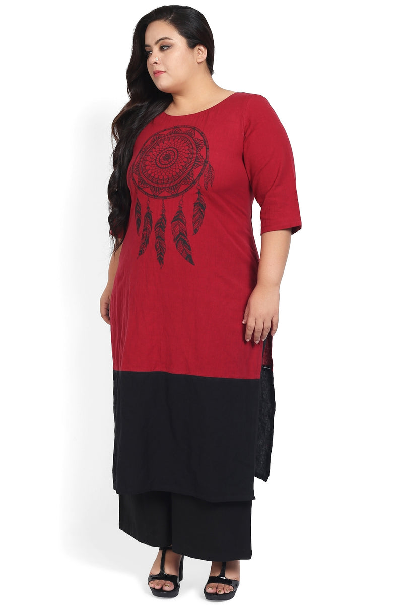 Maroon Black Dream Catcher Print Kurti