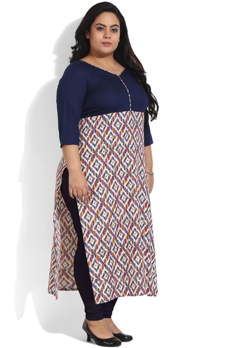 Navy & Multicolour Ankle Length Kurti