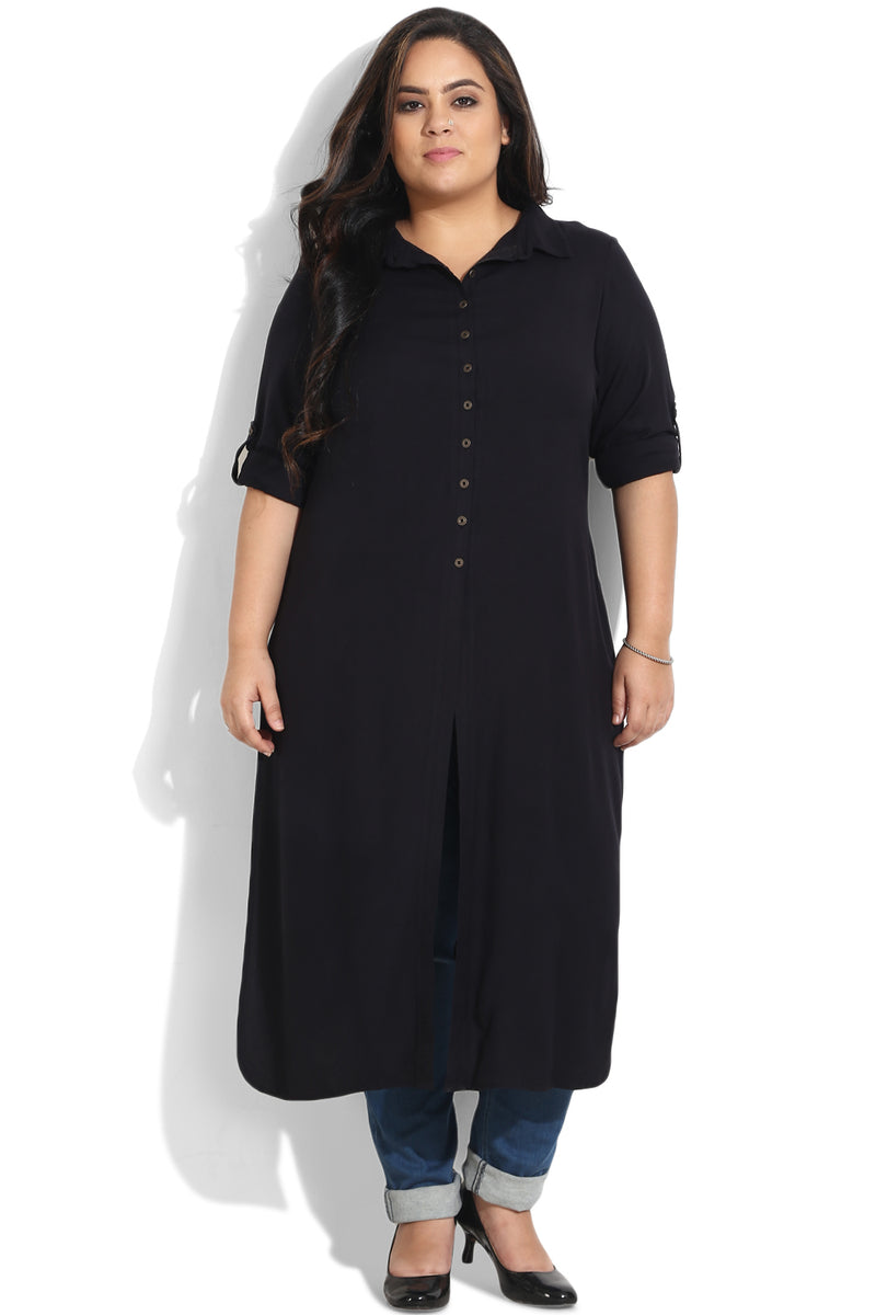 Black Essential Three Slit Kurti