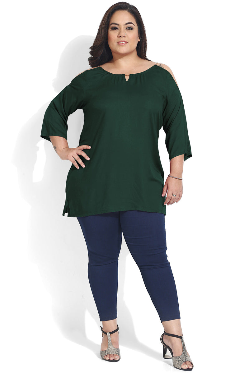 Green Chain Detail Cold Shoulder Top