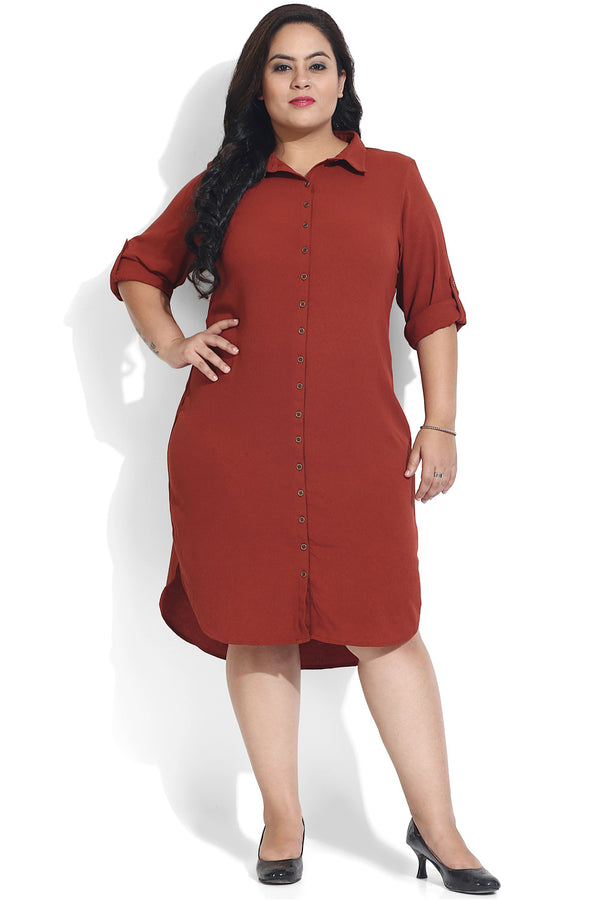 Rust Basic Shirt Dress