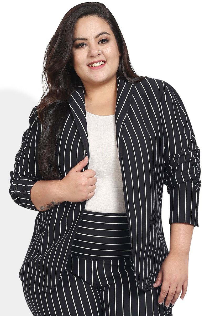 Black Stripe Formal Knitted Jacket