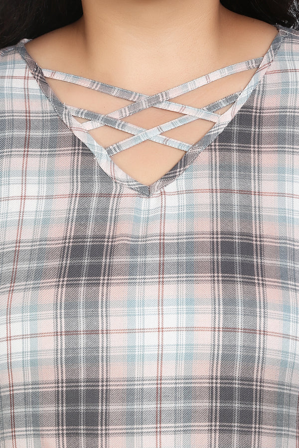 Peach Check Criss Cross Neck Frill Sleeve Top