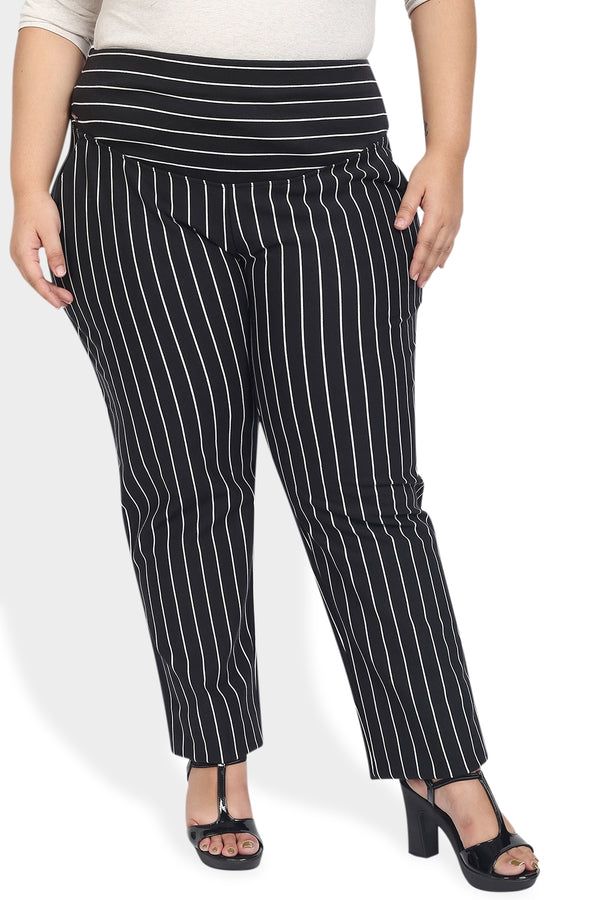 Black White Stripe Crease Seam Tummy Tucker Pants