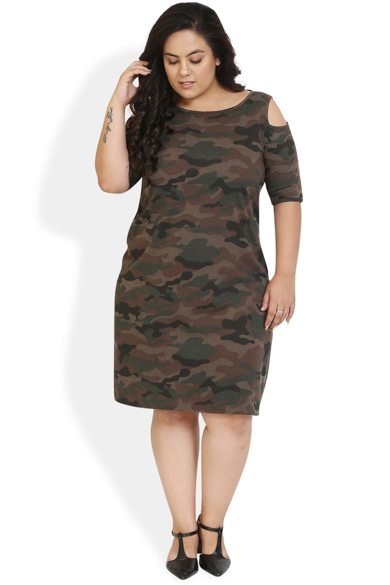 Camouflage Printed Knitted Dress