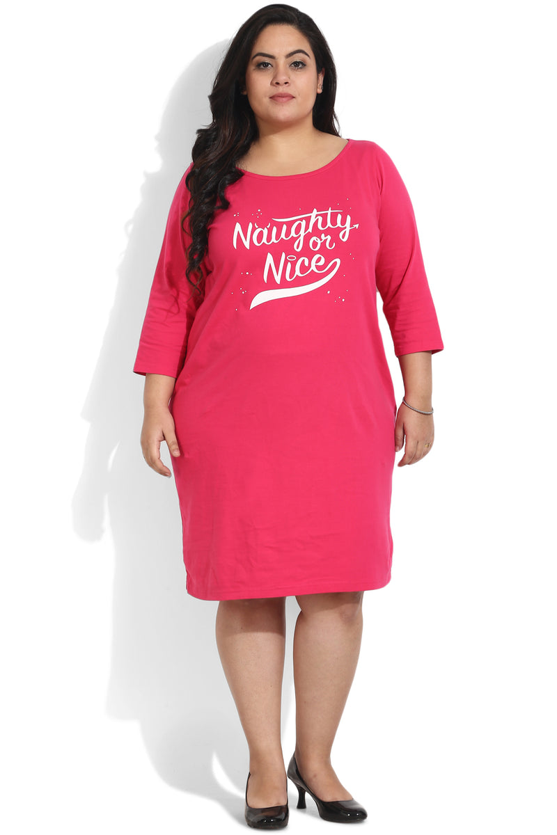 Pink Naughty Nice Printed Lounge Dress