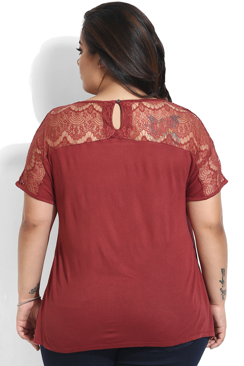 Coral Red Lace Drop Shoulder Top