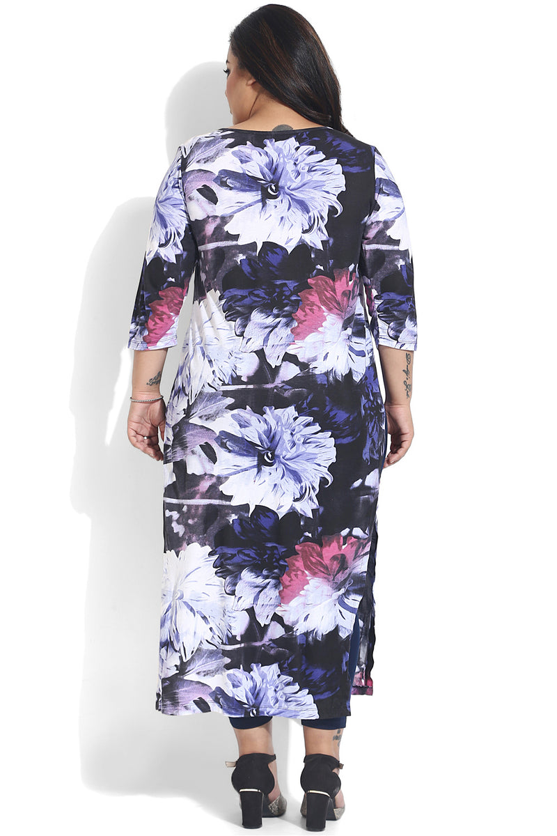 Violet Abstract Printed Overlap Hoseiry Tunic