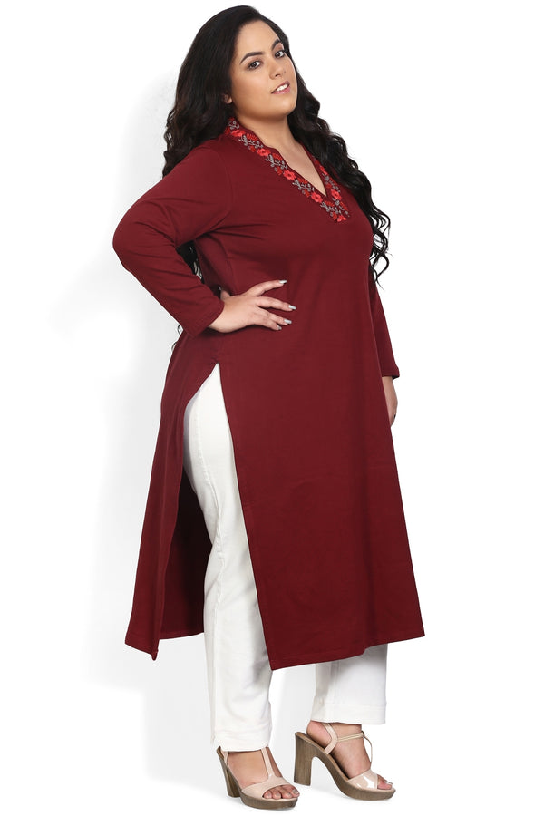 Maroon Neckine Embroidery Autumn Kurti