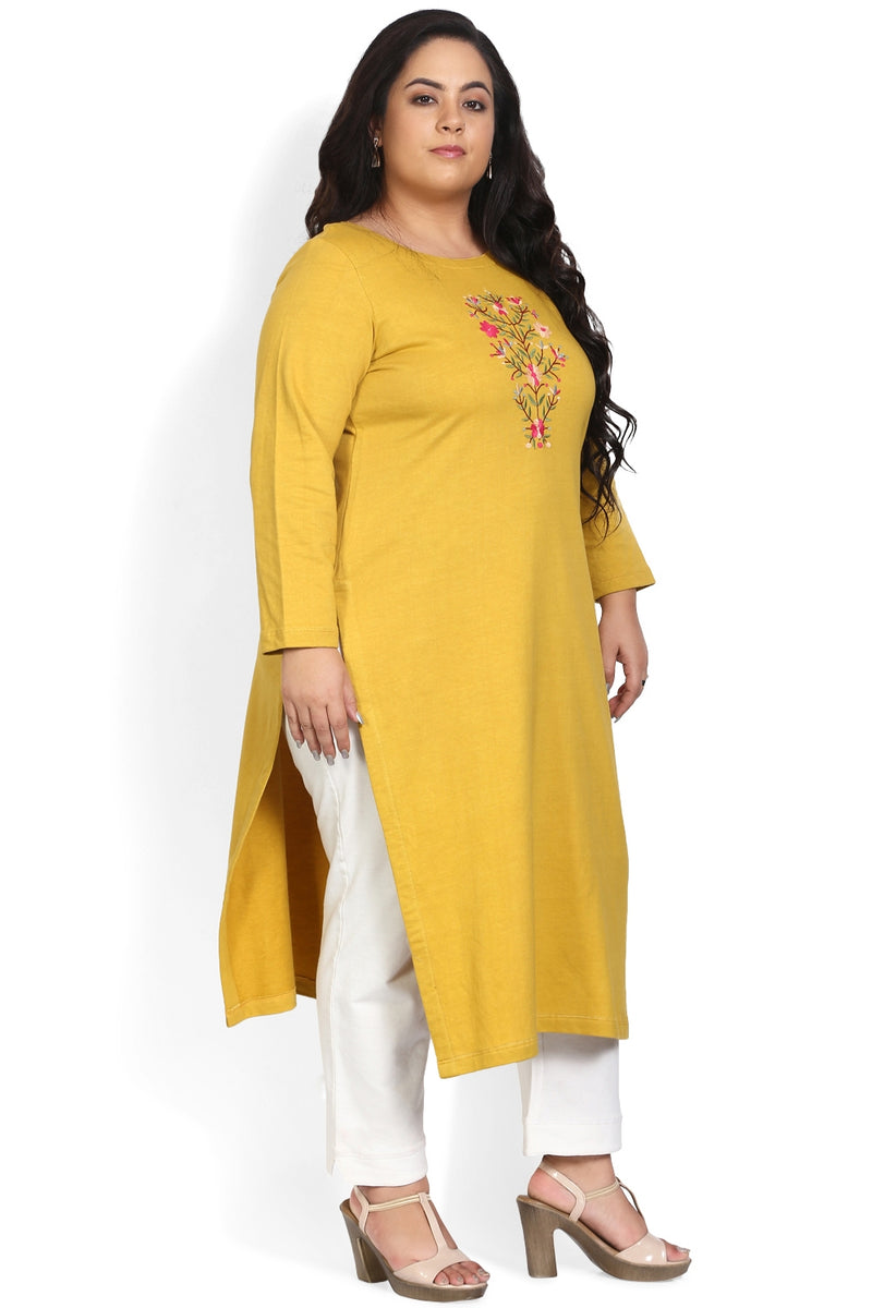 Mustard Embroidery Detail Autumn Kurti
