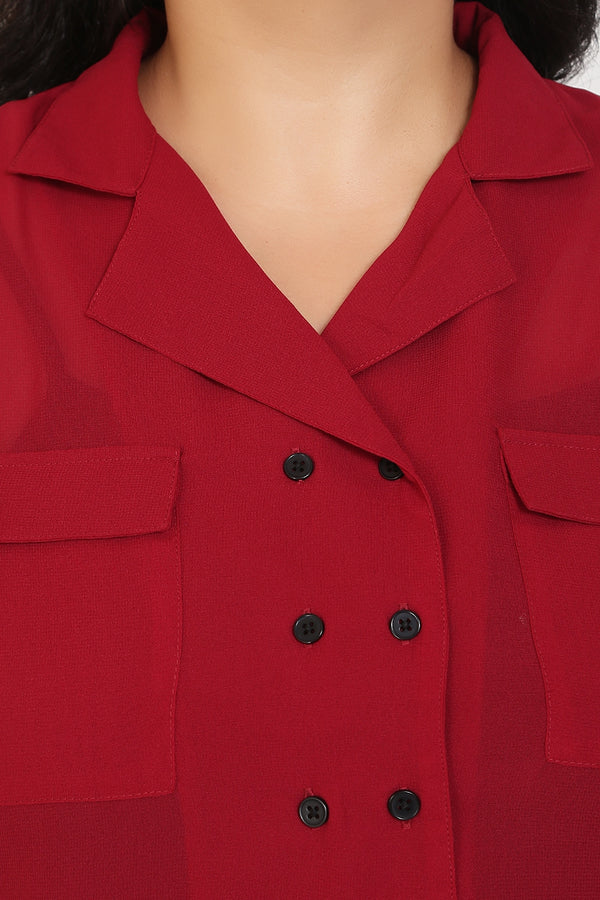 Chilly Red Lapel Collar Button Detail Top