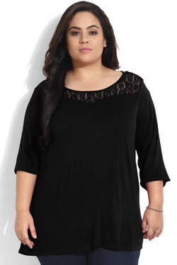 Black Sweetheart Neck Lace Detail Top