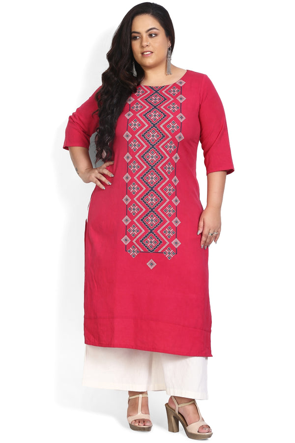 Ruby Pink Printed Panel Kurti