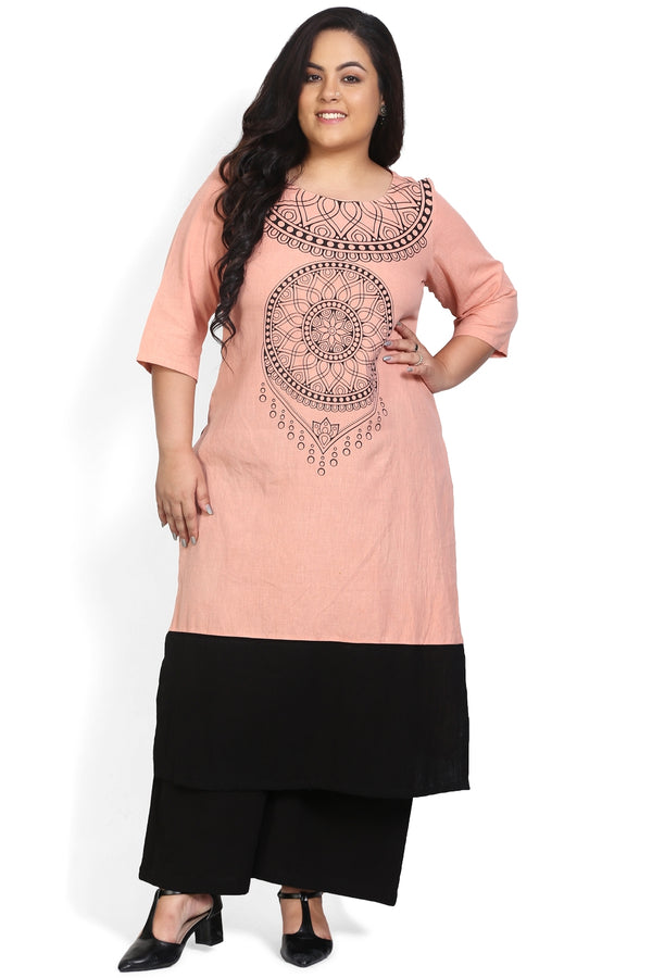 Rose Neckline Print Color Block Kurti