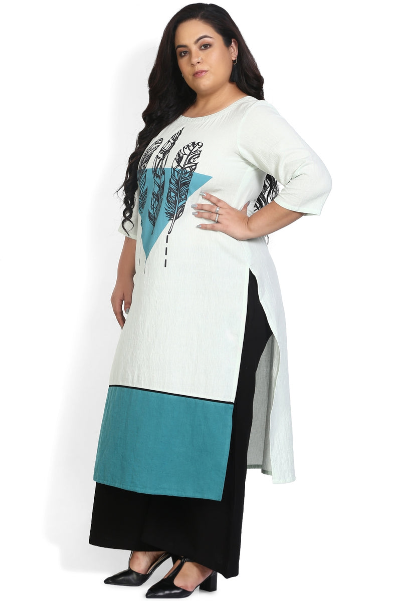 Blue White Feathers Printed Kurti